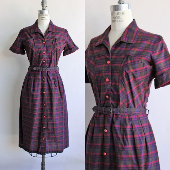 Vintage 1950s Dress With Belt and Pockets / Plaid