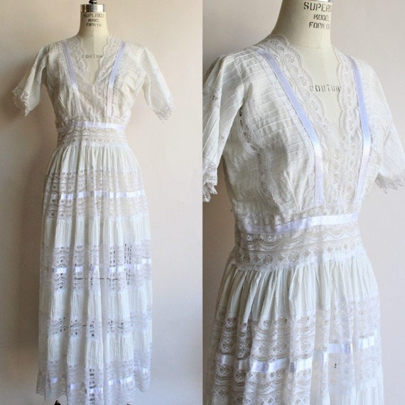 Vintage 1980s 1990s Does Edwardian White Lace Dres