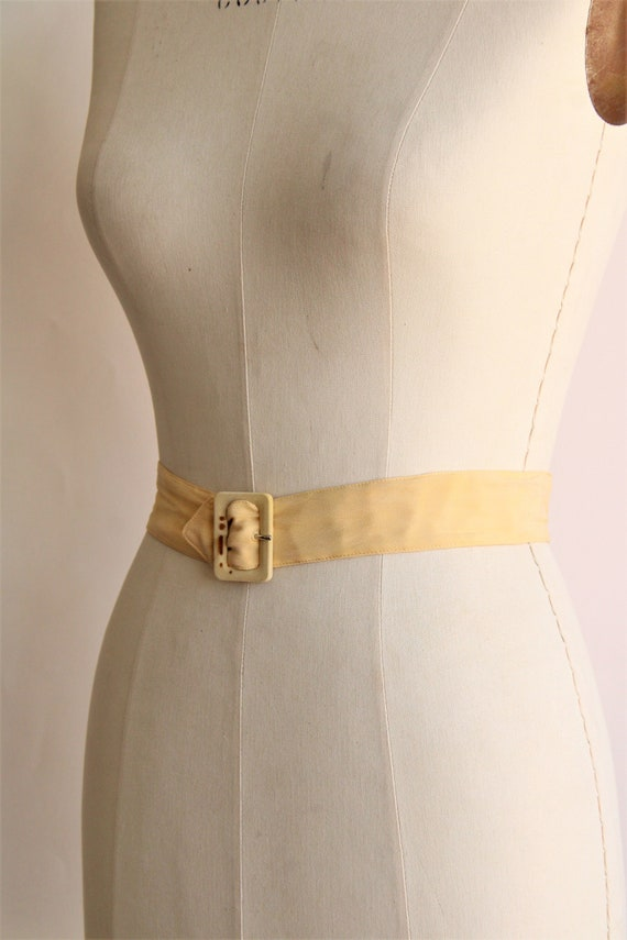 Vintage 1940s Belt / Silk With Fabric Covered Buc… - image 5