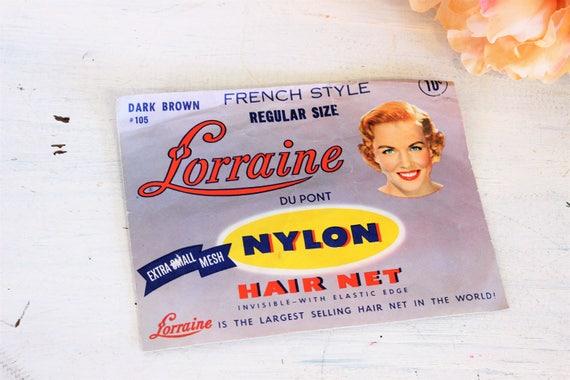 Vintage 1950s Hair Net / Lorraine Dark Brown Nylon