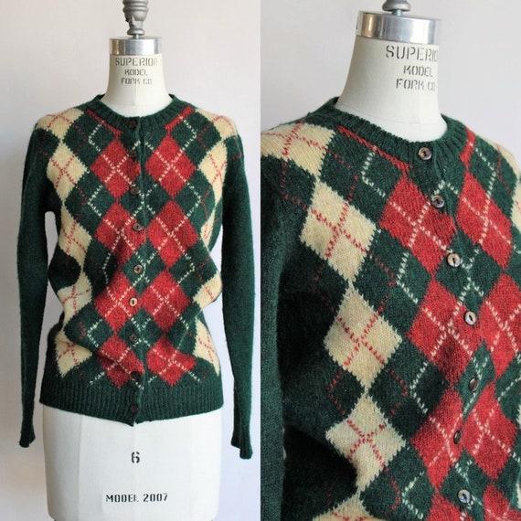 Vintage 1960s Sweater / Brooks Brothers Argyle Car