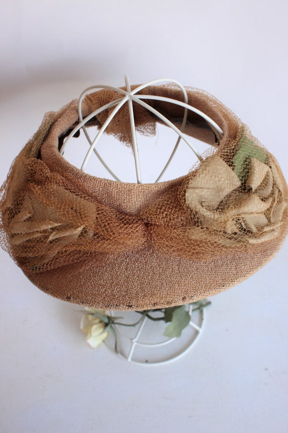Vintage 1930s Hat / Blush Wide Brimmed Hat with N… - image 7