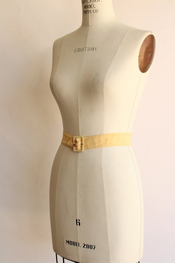 Vintage 1940s Belt / Silk With Fabric Covered Buc… - image 6