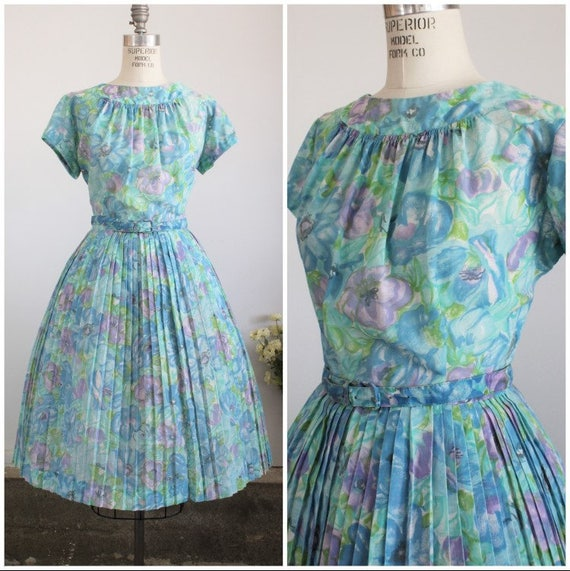 Vintage 1950s Dress With Belt / Mode O Day Fit And