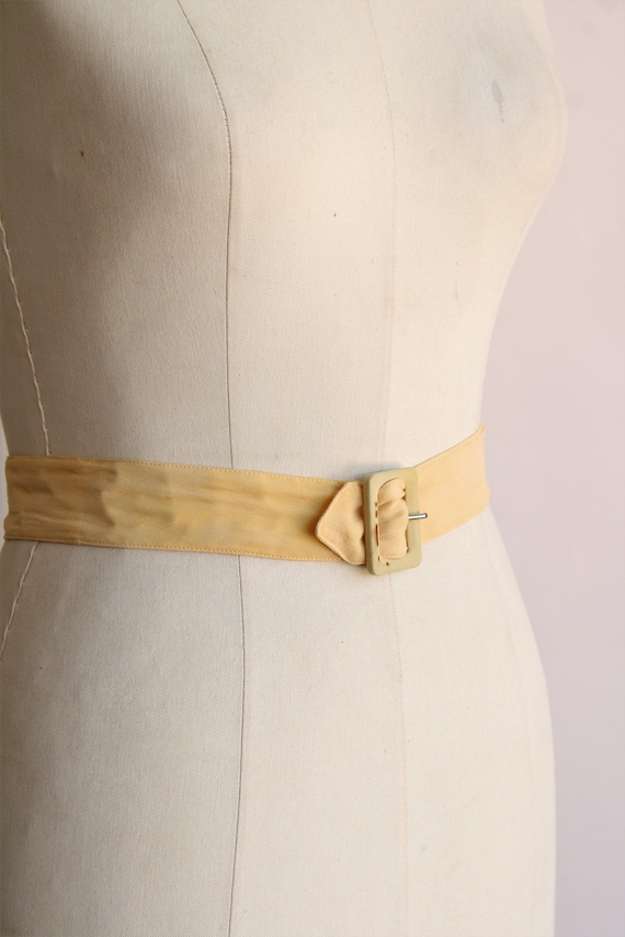 Vintage 1940s Belt / Silk With Fabric Covered Buc… - image 4