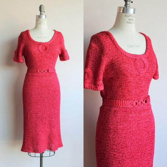 Vintage 1940s 1950s Dress / Rayon Ribbon Dress wit