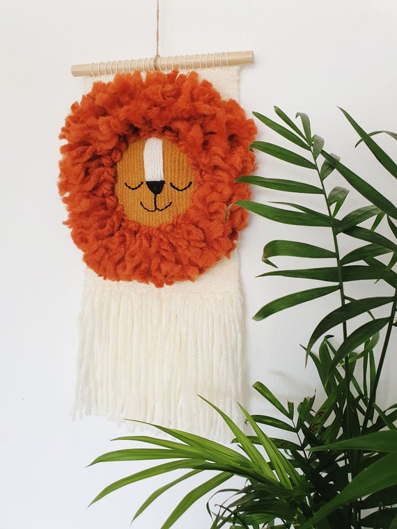 Lion Wall Hanging | Woven Wall Decor | Kids Room | Lion Wall Art | Vegan Friendly Yarn