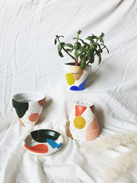 Hand-painted Terracotta Plant Pot | Abstract Planter | Indoor Plant Pot | Homeware | Gift