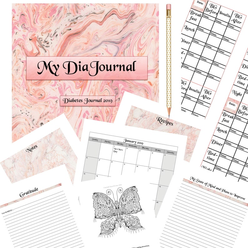 picture regarding Printable Monthly Blood Sugar Log referred to as Model 1 Diabetic issues Magazine 2019, Diabetic issues Blood Sugar Log, Every month Calendar, Blood Glucose Tracker, Diabetic Printable Planner Magazine Package