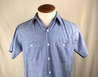 a10dd4a9d Vintage JCPenney Big Mac Chambray Short Sleeve Work Button-Up Shirt