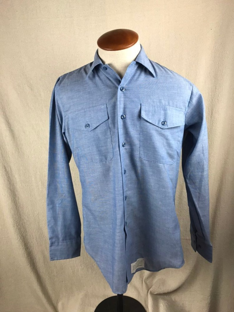 e9f012c0d83 Vintage Chambray Navshirt Work Shirt Long Sleeve Button-Up