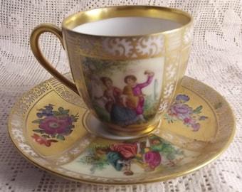 Authentic Richard Klemm Dresden duo - elegant demitasse cup and saucer - vintage fine porcelain - German porcelain - rare tea cup, espresso