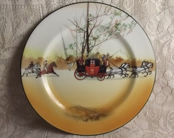Royal Doulton inch cabinet  plate with highly detailed equine landscape- Stage coach plate - horses - Coaching Days - landscape