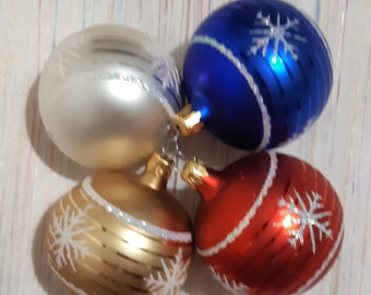 Vintage Christmas tree balls in red, blue, white and gold - Made in Columbia - glitter textured
