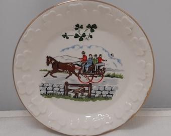 Irish porcelain trinket tray, sugar cube dish , horses teal turquoise wedding - ring tray, gold lustre , meadow