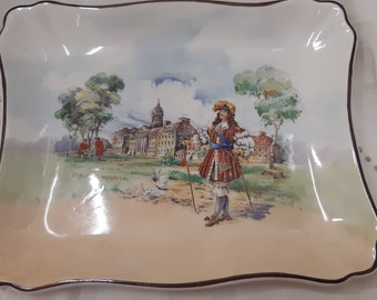 Rare Antique Royal Doulton sandwhich tray - Charles I at Chelsea Hospital - handpainted art plate by Doulton - royalty, royal memorabilia