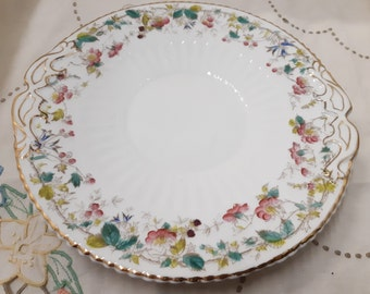 Rare Antique dessert serving plate  -9 inch handled plates - handpainted plates - 1800s china- early British china - bridal tea - tea party