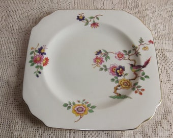 Vintage six inch plate with birds and flowers - side plate, dessert plate, luncheon plate, small plate - mismatched china - cottage chic