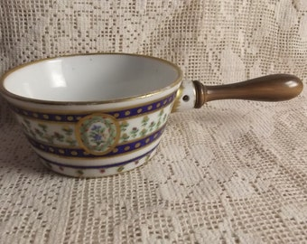 Exceedingly rare Sevres porcelain 1792 milk cup - wooden handle - French Royal Porcelain works - French porcelain -  hand painted dish