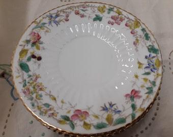 Rare Antique dessert plates - Brambles - berries, wild roses, rose hips - 7 inch plates  - bridal tea - tea party