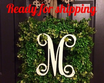 SALE 12 inch single wooden letter, front door, wreath wall decor Unpainted ready to ship
