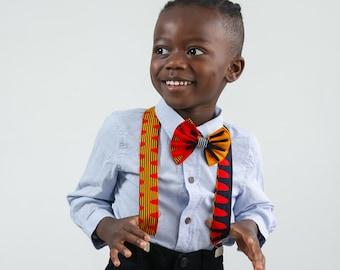 Ankara Print Bow Tie and Suspender Set