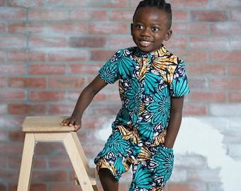 Ogo Ankara Print Boys Two Piece Set - kids