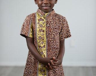 Oba Ankara Print Boy's Shirt Brown/Gold