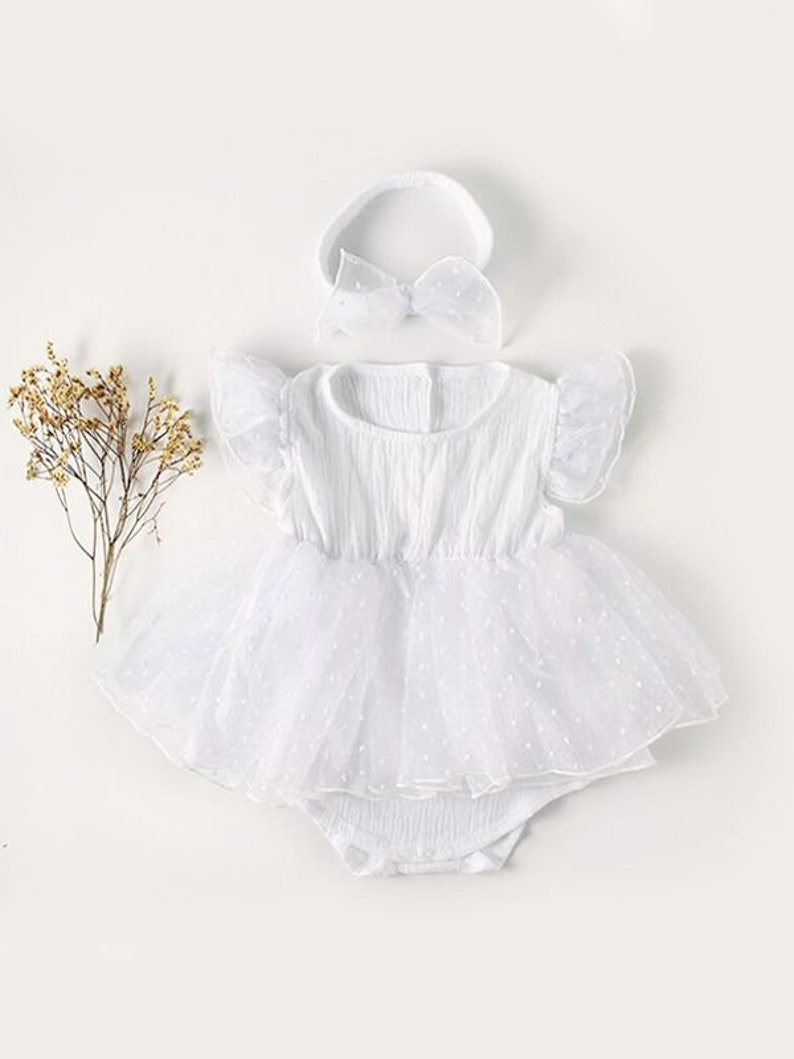 White Tulle Cotton Romper Baby Dress with Headband Baby Outfit White Dress Outfit Set Newborn Outfit