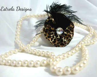 Vintage Leopard Print Feathered Hair Fascinator/Broach Pin