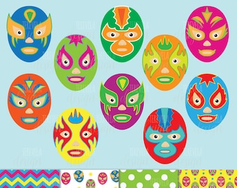50% SALE lucha libre clipart, mexican mask clipart, commercial use, wrestling clipart, MEXICO clipart, paper set, mask graphics