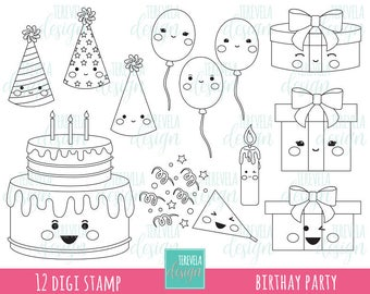 50 SALE BIRTHDAY Digital Stamp Party Digi Commercial Use Kawaii Birthay Cake Gifts Balloons Coloring Page