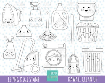 50 Sale CLEANING Digi Stamp Commercial Use KAWAII DIGI Laundry Clean Up Graphics Cute Icons Bucket Digital Stamps