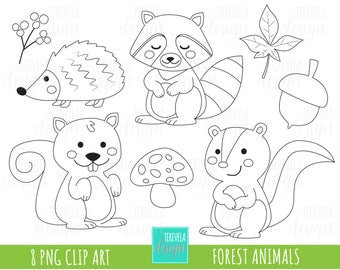 50 SALE Forest Animalis Stamp Digi Commercial Use Fall Clipart Woodland Stamps Autumn Coloring Page Cute Animals