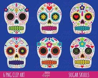50 SALE HALLOWEEN Clipart Day Of Death Dia De Muertos Commercial Use Sugar Skulls Skull Cute