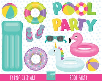 50% SALE POOL PARTY clipart, girl pool party clipart, summer clipart, commercial use, pool graphics,  instant download, party clipart, pink