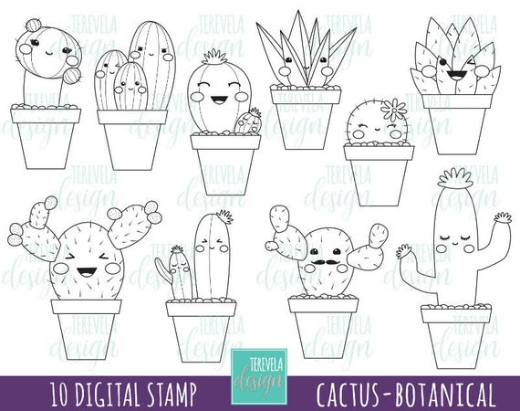 50 Sale Cactus Stamp Digi Stamp Commercial Use Kawaii Digi Stamp Botanical Cactuses Plants Coloring Page Cute Images