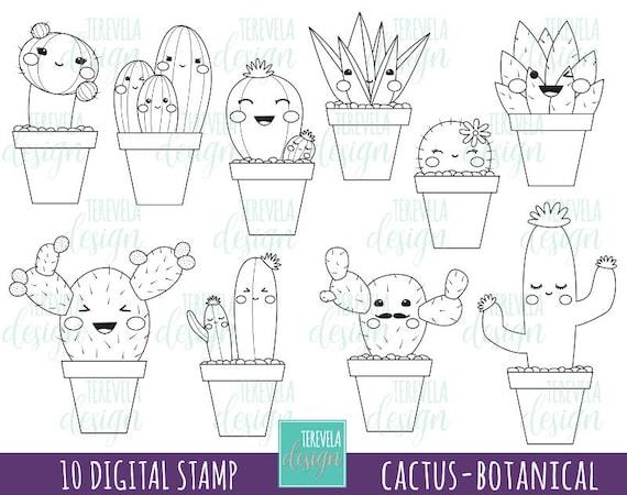 50 Sale Kaktus Stempel Digi Stempel Kommerzielle Nutzung Kawaii Digi Stempel Botanischen Kakteen Pflanzen Ausmalbilder Niedliche Bilder