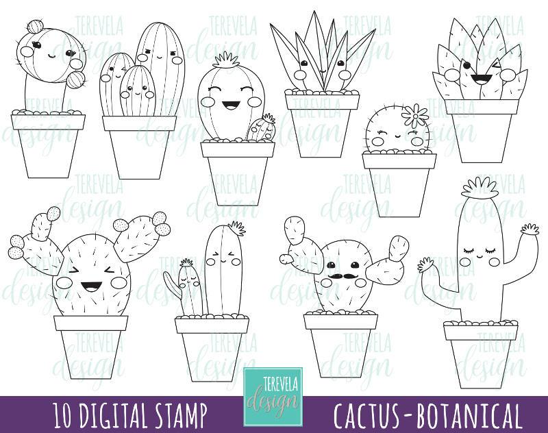 50 Sale Cactus Stamp Etsy