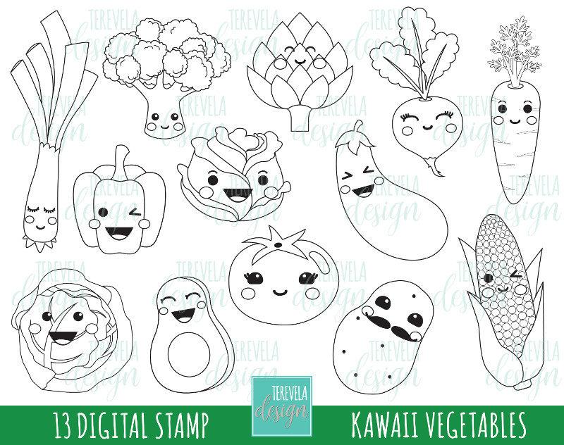 50 sale vegtables stamp commercial use kawaii stamp digi