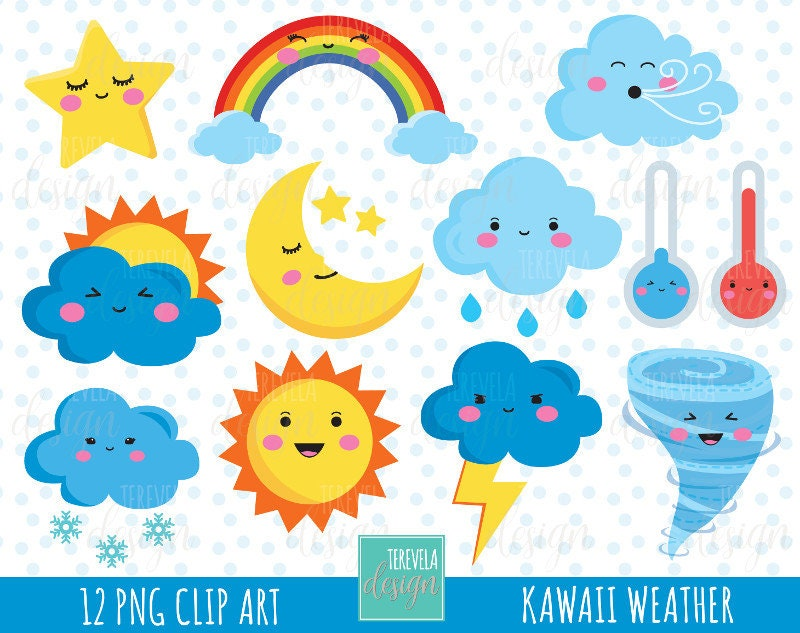 50% SALE WEATHER clipart weather icons commercial use | Etsy