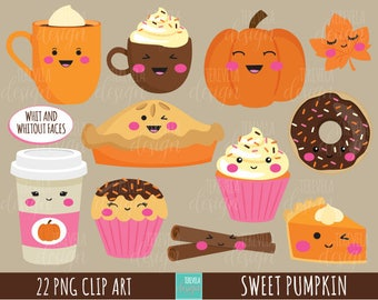 50% SALE FALL clipart, autumn clipart, sweet treats clipart, commercial use, kawaii clipart, fall graphics, cute images