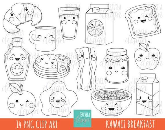 50 Sale Kawaii Frühstück Digitalen Stempel Kommerzielle Etsy