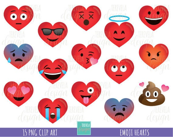 50 Herzen Clipart Emoji Clipart Emoji Herats Clipart Etsy