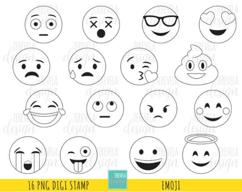 Kleurplaten Emoji Unicorn.50 Sale Emoji Digital Stamps Emoticons Digi Stamps Etsy