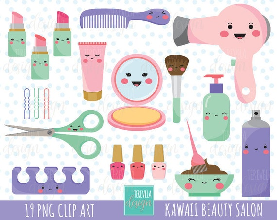 50 sale kawaii salon clipart beauty salon clipart commercial use rh etsystudio com cosmetology tools clipart free cosmetology clipart images