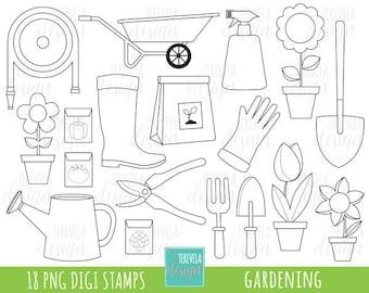 50% SALE Garden digi stamp, spring stamps, commercial use, gardening stamps, cute digi stamps, gardening tools graphics