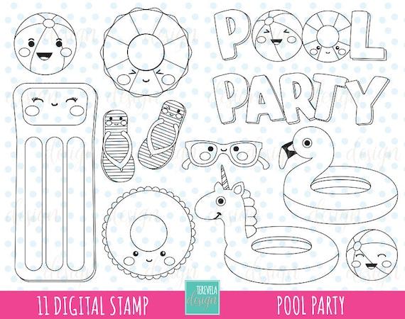50 Sale Pool Digitale Briefmarken Sommer Digi Stempel Etsy