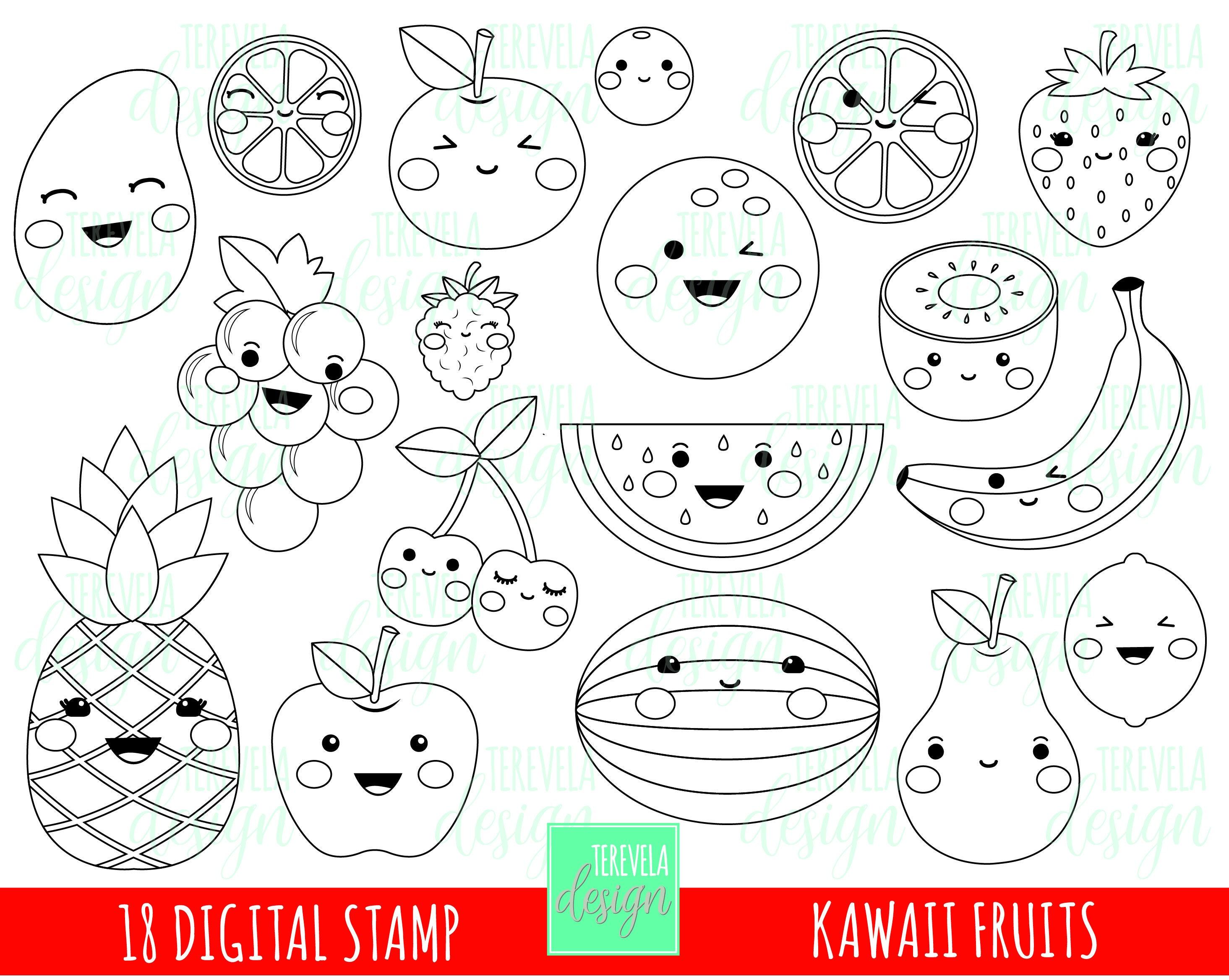 50% SALE FRUITS digital stamp fruits stamp kawaii fruit | Etsy