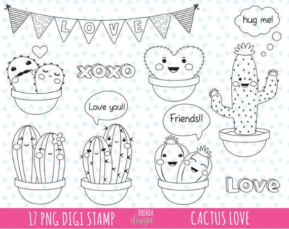 50 Sale Love Clipart Love Cactus Clipart Commercial Use Cute Clipart Valentine S Day Clipart Cactus Friends Coloring Page